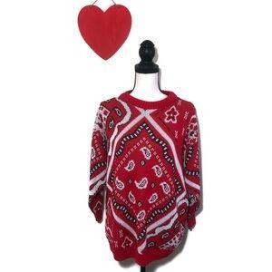 Vintage Red  Bandana 3/4 Sleeve Sweater Medium